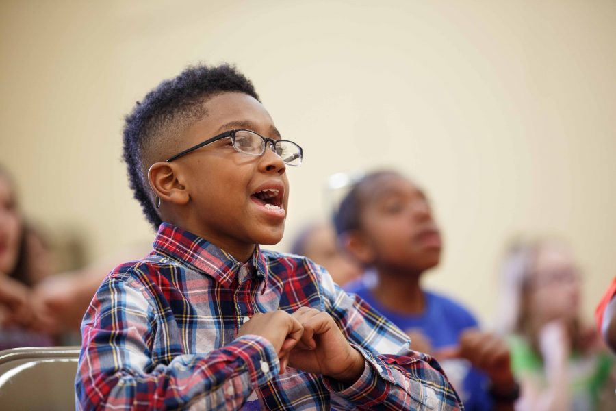A Gleeksman-Kohn Children's Choir student rehearses at Germantown