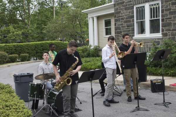 A jazz ensemble performs at the Wynnefield Open House