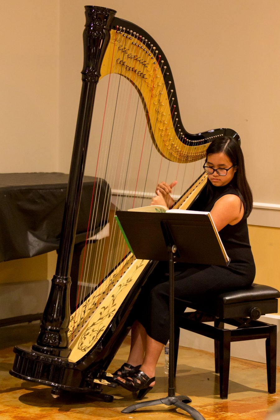 Settlement Student Kintan Silvany plays the harp