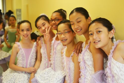 Students getting ready for a dance performance