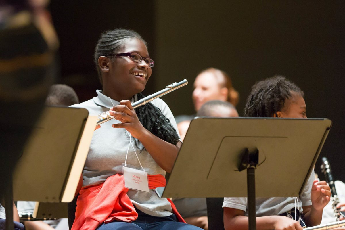 A Music Education Pathways student rehearses for the Pathways Concert.
