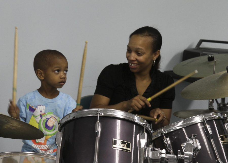 Mommy and Me Percussion Class at Settlement Music School's open house being held at the Wynnefield branch on June 8, 2013.