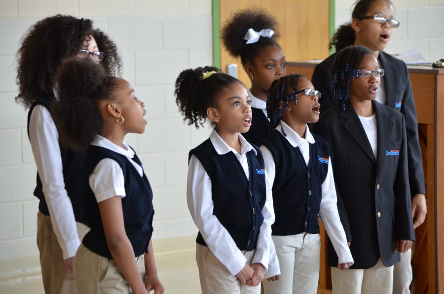 Students from the Gleeksman-Kohn Children's Choir rehearse for an upcoming performance.