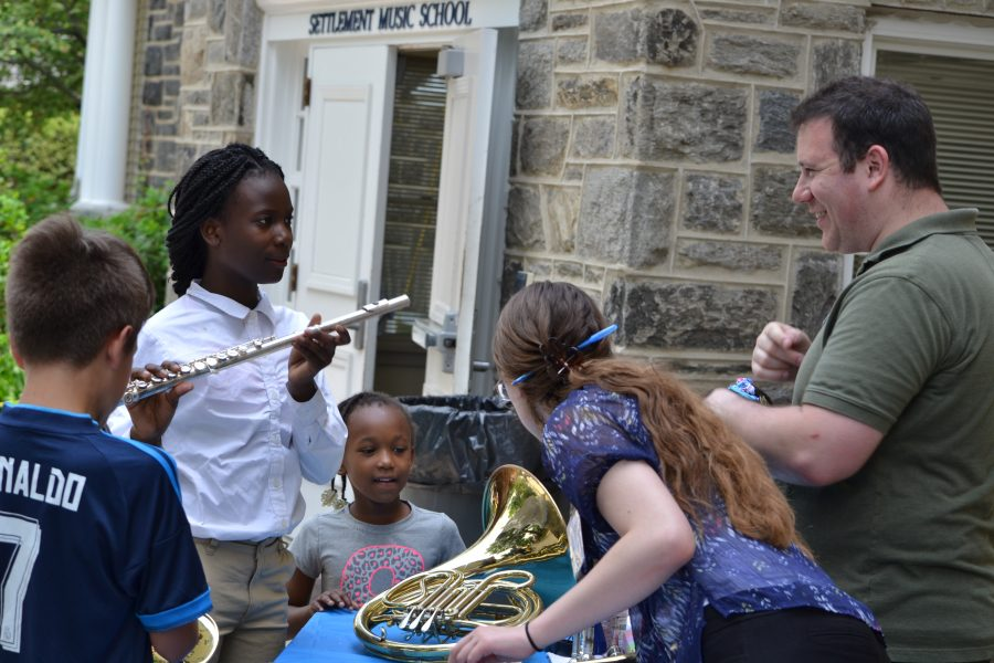 Students experience an instrument safari at the Wynnefield Branch