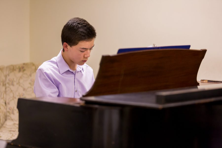 An Advanced Study student rehearses before the 2018 Advanced Study Concert