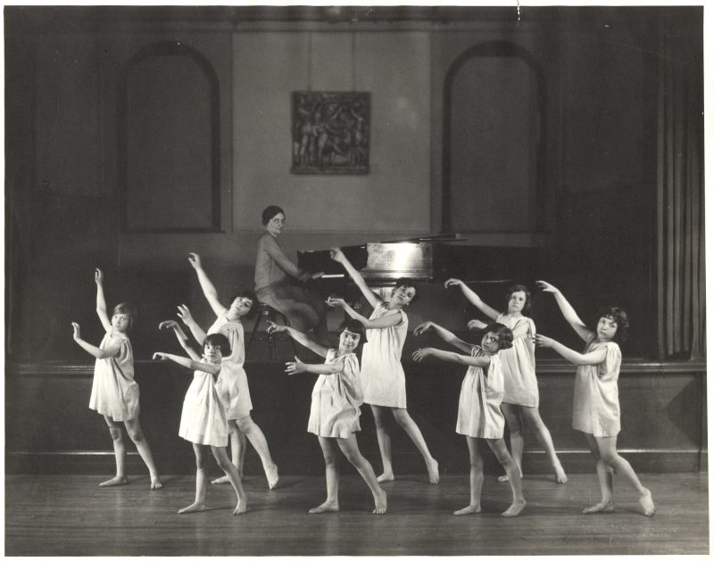 A historic photo of a Settlement dance class.