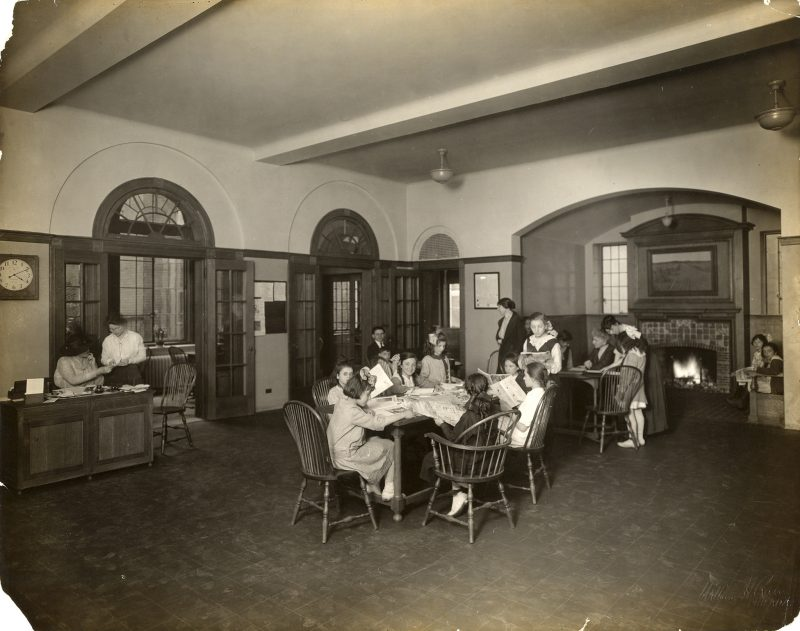 A historic photo of the lobby area of Settlement Music School.