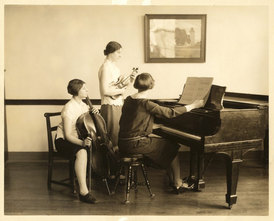 A historic photo of a Settlement practice session.