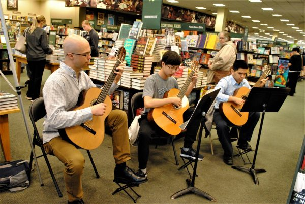 Guitar students of our Kardon-Northeast Branch perform at the Barnes & Noble Book Fair in Neshaminy Mall.