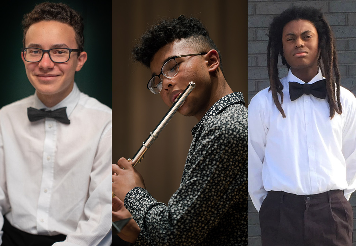 Marian Anderson Young Artist Study-Grant Winners Josif Collazo, Blue Shelton, and Obataiye Lyles